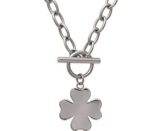 Engraved clover necklace lucky steel 45 cm