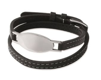 Oval bracelet 2 laps clasp black leather belt and steel