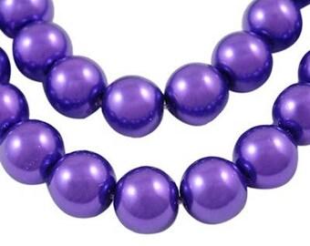 Set of 50 renaissance Pearly Indigo 8mm purple glass beads