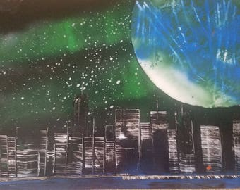 Spray Paint Art on Posterboard
