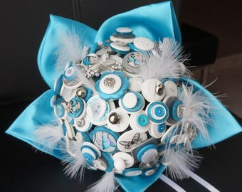Bridal button bouquet original Butterfly