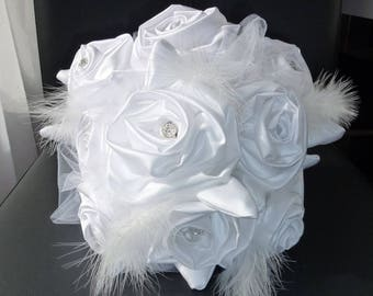 bridal bouquet white satin and tulle