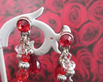 earrings to pendants / charms red and Crystal and metal beads
