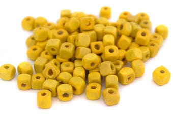 100 beads 5mm wooden yellow cubes