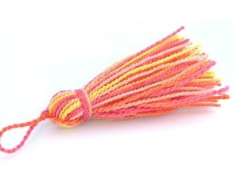 Multicolor Pompom yellow, orange and pink 6.5 cm