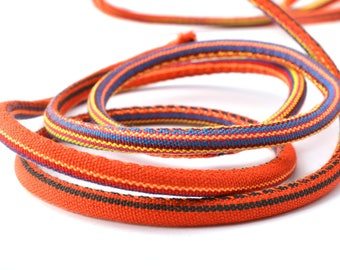 Multicolor orange round 6-7 mm fabric cord 50 cm
