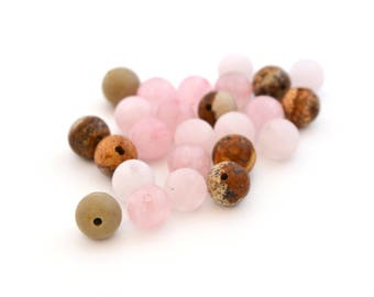 25 beads pink and brown stone 7-8 mm round