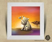 Frame square 25 x 25 birth gift with Illustration baby rhino and butterfly nursery kids baby