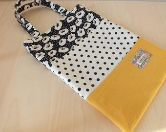 """Tote bag / Tote patchwork pattern """"anemone"""" and polka dots."""