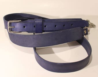 Leather strap for A4 slim blue leather bag