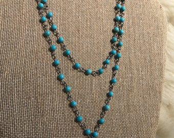 Light blue double bead necklace