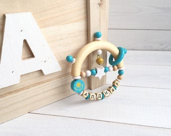 """Personalized rattle with name of  """"Patriot-collection"""", International souvenir, wood, best Gifts for newborn babies, Latin alphabet."""