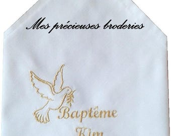 Baptism embroidered handkerchief personalized name + date model choice