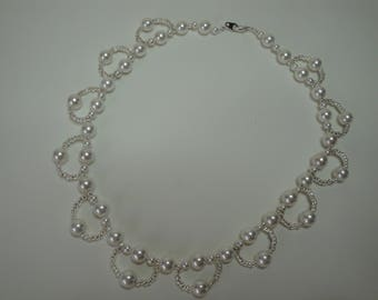 Necklace pearls cultured crew neck