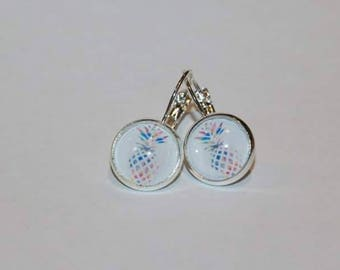 Watercolour Pineapples Stirling silver earrings