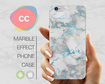 Blue White Marble - iPhone 8 Case - iPhone 7 Case - iPhone X, iPhone 8 Plus, 7, 6, 6S, 5S, SE Cases - Samsung S8, S7, S6 Cases - PC-322
