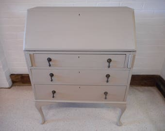 Writing desk bureau wooden hand painted stencilled script feature storage section 3 drawers cabriole legs