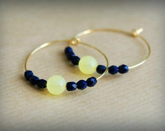 Hoop earrings Golden Pastel yellow/blue