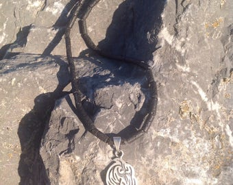 Men's chain black lava tubes, pendants and spring clasp Silver 925
