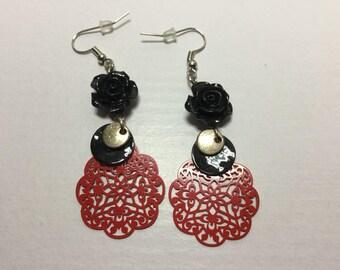 Black rose dangle earrings