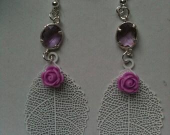 White romantic style leaf earrings