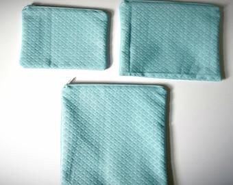 Blue Diamond Zipper Pouch- Make-up bag, Cosmetic bag, Pencil Case, Toiletry bag, Baby Blue, Art Supply Bag, Toiletry Bag, Bohemian, Boho