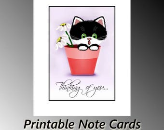 Sugar Boots Flower Pot Thinking of You Cute Kitty Cat Blank Printable A4 Note Card Instant Digital Download
