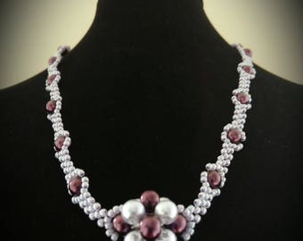 Lilac and aubergine renaissance necklace