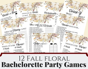 12 Fall Floral Bachelorette Party Games, Printable Fall bridal Shower Game, Bridal Shower Game, Hens Night Game