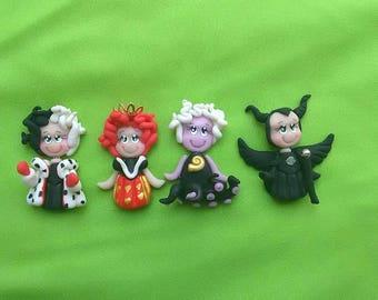 disney villains princess clay charms/ bowcenter/ polymer clay/ ursulla / bad queen/ snow white/ malefica