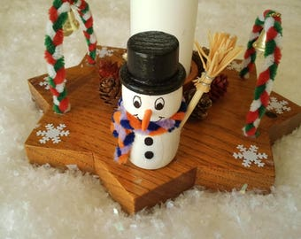 Centerpiece Christmas wooden characters with candle