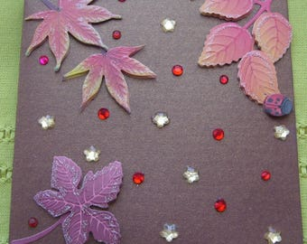 Hand made greeting card 3 D leaves blazing fall and rhinestone red and yellow - brown metallic background - matching envelope