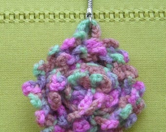 Keychain or bag charm handmade crochet - wool flower lime green, hot pink, purple and Brown