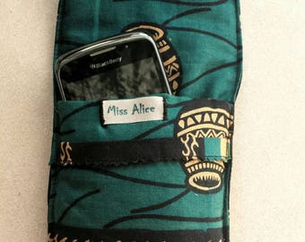 Black and green padded phone case cover