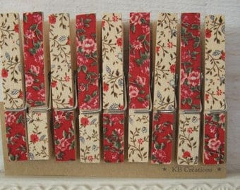 9 clips linen decorated (n ° 42) Red & beige liberty