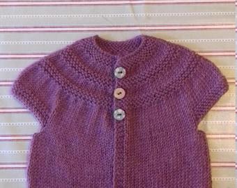 Handknit baby cardigan 100% wool