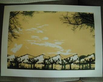 Handmade screenprint 3 colors on canson 50x70cm