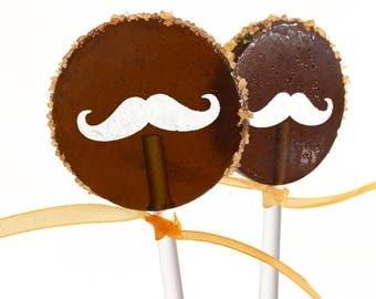 6 - Espresso Root Beer Lollipops With Crystal Vanilla Rim and Vanilla Glazed Mustache