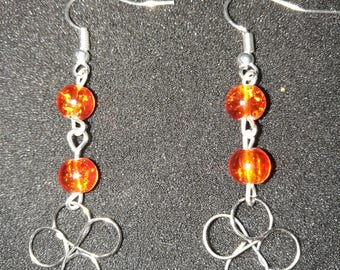 214. Hand Crafted Flower & Bead Earrings
