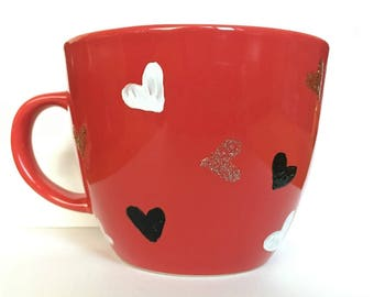 Hand Painted Mug - Red with Hearts