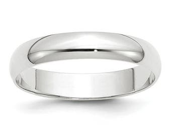 New 14K Solid White Gold 4mm Men's and Women's Wedding Band Ring Sizes 4-14. Solid 14k White Gold, Made in the U.S.A.