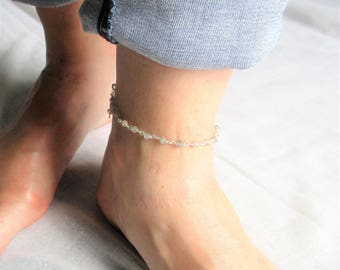 Anklet chain gemstones with Labradorite and 925 sterling silver chain.