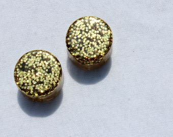 Handmade Gold Sparkle Plugs | Stretched Ears Resin Earrings | Glitter Jewelry