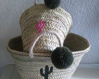 Duo of mother daughter, cactus and tassels, the hearty baskets