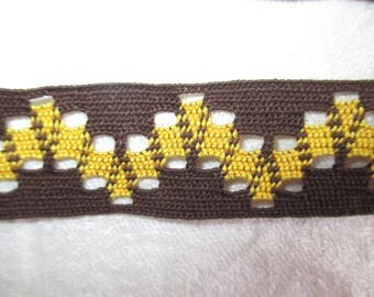 vintage Brown and yellow stripe 2.5 cm in height