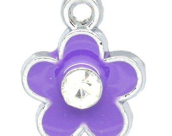x 1 flower charm Purple 12 mm enameled metal.