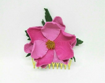 Flower Leather Hair Comb
