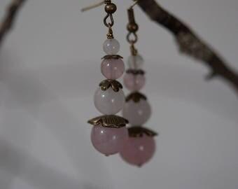 Artisanales Quartz pink earrings, handmade, unique piece!