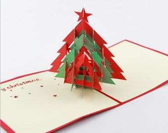Handmade 3D popup pop up origami papercraft art star Xmas christmas card red green evergreen conifer pine tree forest traditional country