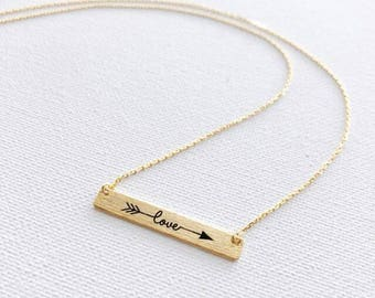 Gold Love Bar Dainty Necklace